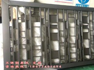 中式玫瑰金属不锈钢屏风花格镂空隔断厂家