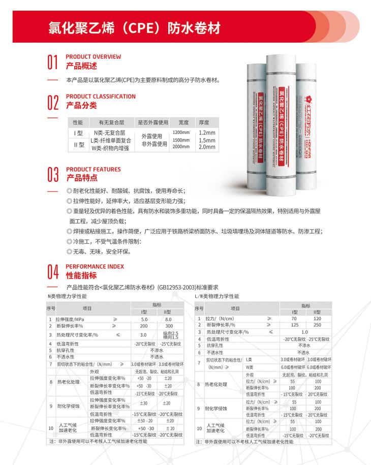 氯化聚乙烯(CPE)防水卷材