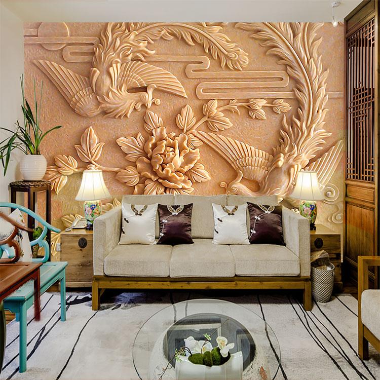 现代简约电视沙发背景墙个性定制壁画无缝墙布装饰画