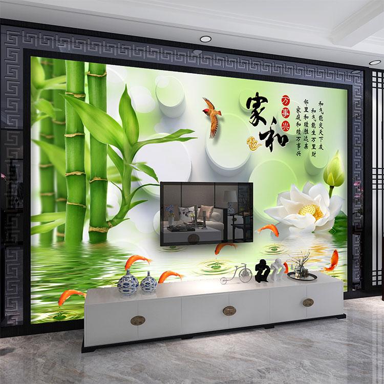 福建千彩装饰壁画个性定制现代简约装饰画电视沙发背景墙布