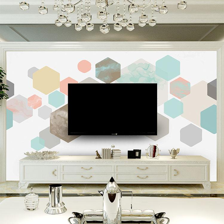 北欧现代无缝墙布个性定制沙发电视背景墙无缝墙布个性装饰画