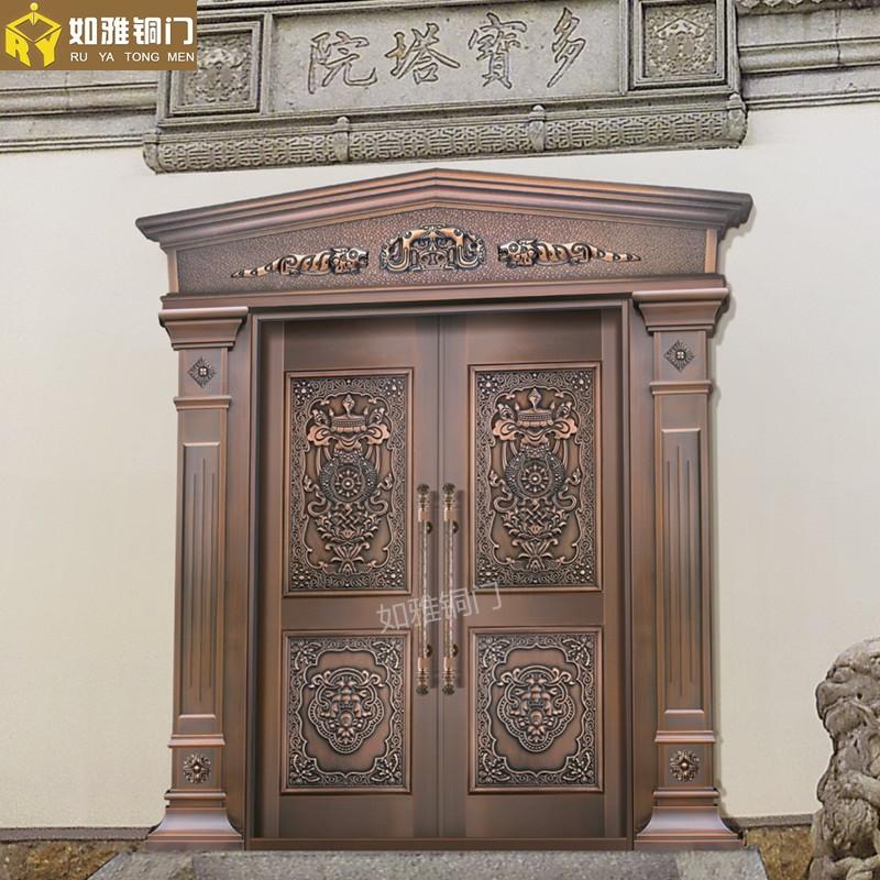 青岛真铜门厂家居室铜门款式拱形铜门订做加工