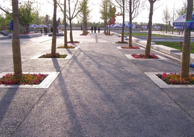 江苏休闲广场彩色透水路面南通防滑地坪施工生态透水地坪承接