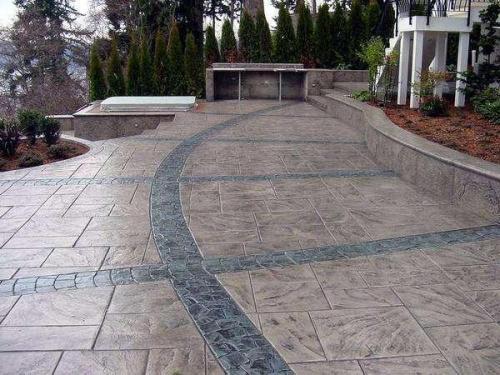 彩色水泥混凝土压花压模地坪材料模具压印公园仿石路面厂家